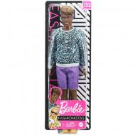 Papusa Ken afro cu pantaloni mov Barbie Fashionistas