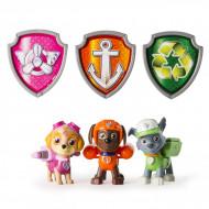 Set 3 figurine mecanice Skye, Zuma si Rocky + insigne Patrula Catelusilor