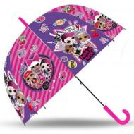 Umbrela transparenta automata LOL Surprise roz 70 cm