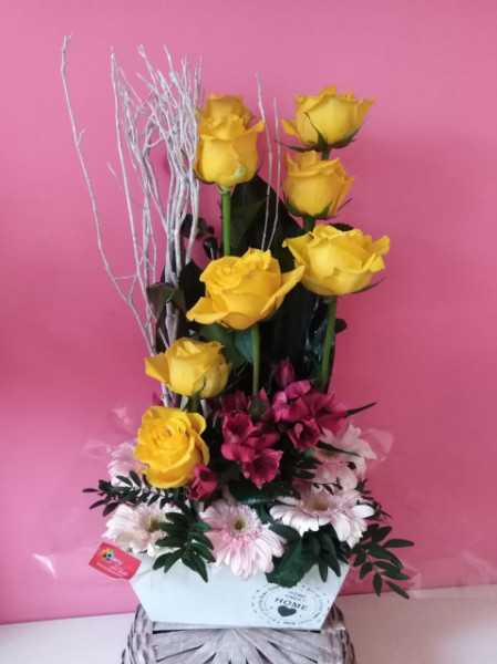 Centro vertical con rosas
