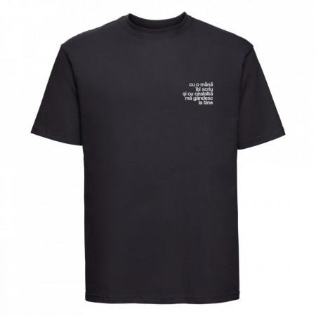 "tricou unisex ""cu o mână îți scriu"" negru"