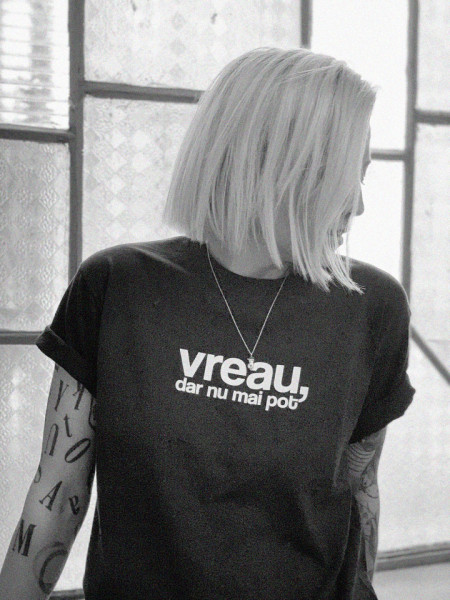 "tricou unisex ""vreau, dar nu mai pot"" negru"