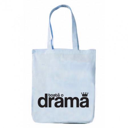 """sacoșă premium cu bretele lungi albastră """"toată o dramă"""""""