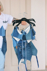 corset scurt din denim upcycled Tombabe & Laura Chiriță collab.