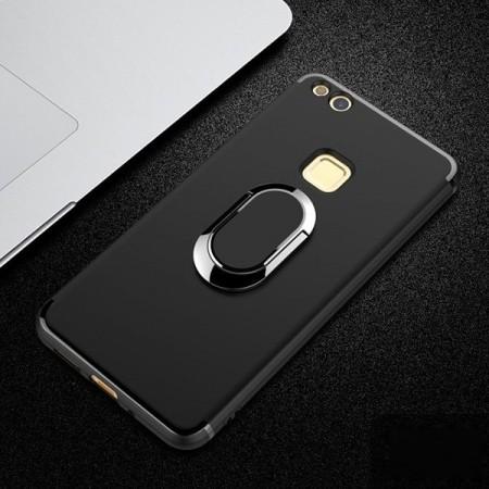 Husa Huawei P10 LITE Neagra Din Silicon Cu Inel Oval
