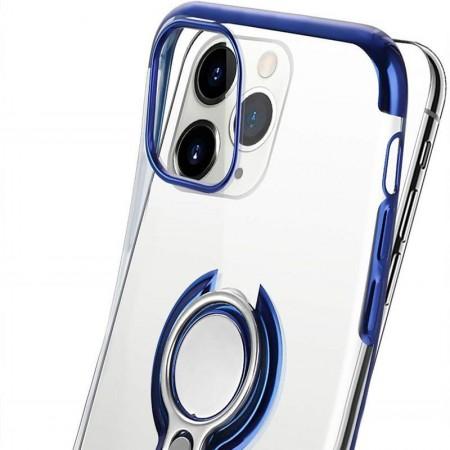 Husa iPhone 11 Pro din Silicon Transparenta cu Inel Rotativ si Margini Albastre