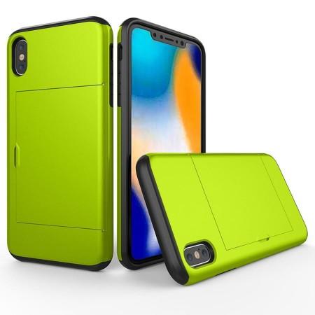 Husa iPhone X sau XS Verde Antisoc Cu Buzunar Pentru Card
