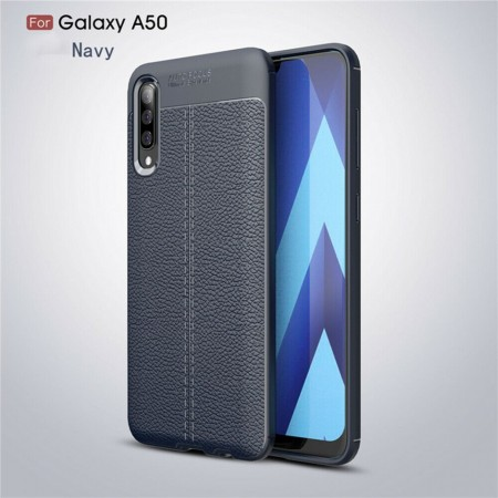 Husa Samsung Galaxy A50   A50s   A30s Bleumarin din TPU cu Design de Tip Piele