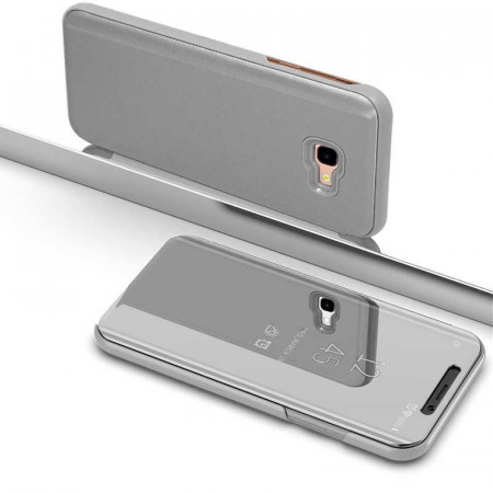 Husa Samsung Galaxy J6 PLUS Book Cover Clear View Stand Silver