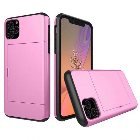 Husa iPhone 11 Pro Roz Antisoc Cu Buzunar Pentru Card