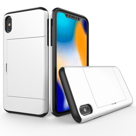 Husa iPhone X sau XS Alba Antisoc Cu Buzunar Pentru Card