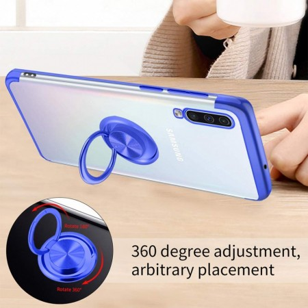 Husa Samsung Galaxy A50 | A50s | A30s din Silicon Transparenta cu Inel Rotativ si Margini Albastre