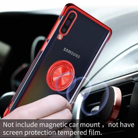 Husa Samsung Galaxy A70 | A70s din Silicon Transparenta cu Inel Rotativ si Margini Rosii
