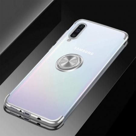 Husa Samsung Galaxy A70 | A70s din Silicon Transparenta cu Inel Rotativ si Margini Argintii