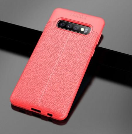 Husa Samsung Galaxy S10 PLUS Rosie din TPU cu Design de Tip Piele