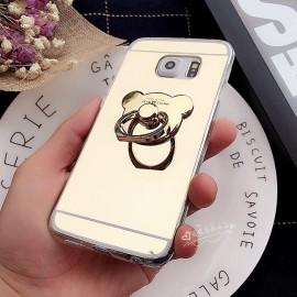 Husa Samsung Galaxy S5 Silicon Mirror Gold Cu Inel