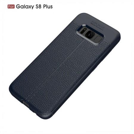 Husa Samsung Galaxy S8 Plus Bleumarin din TPU cu Design de Tip Piele