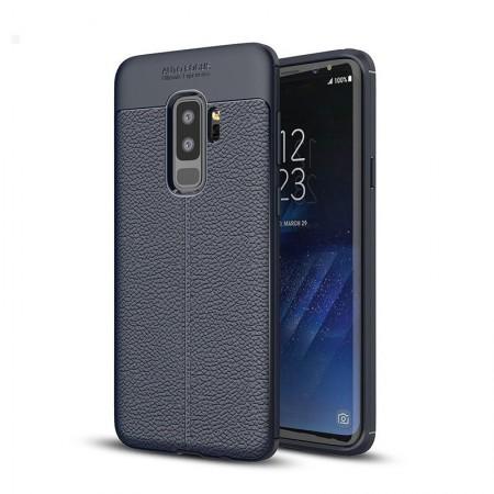Husa Samsung Galaxy S9 PLUS Bleumarin din TPU cu Design de Tip Piele