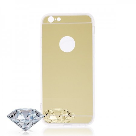 iPhone 6 si 6S Husa Silicon Mirror Gold pentru iPhone