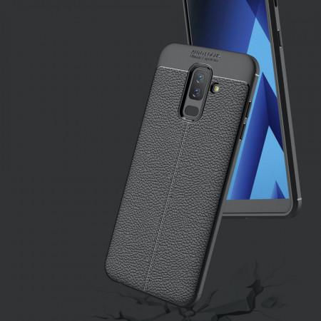 Husa Samsung A6 PLUS (2018) - Husa Neagra din TPU cu Design de Tip Piele