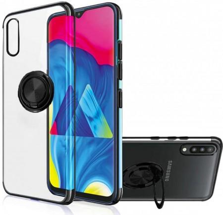 Husa Samsung Galaxy A40 din Silicon Transparenta cu Inel Rotativ si Margini Negre
