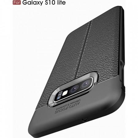 Husa Samsung Galaxy S10e - Husa Neagra din TPU cu Design de Tip Piele