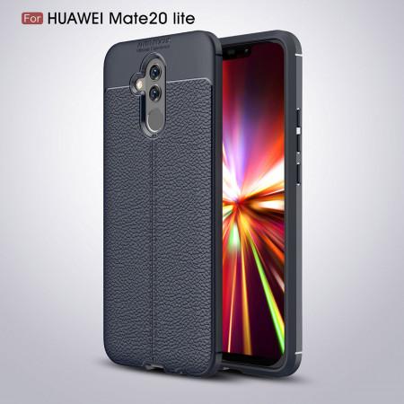 Husa Huawei MATE 20 LITE Bleumarin din TPU cu Design de Tip Piele