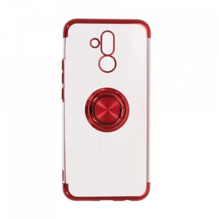 Husa Huawei MATE 20 LITE Silicon Transparenta cu Inel Rotativ si Margini Rosii