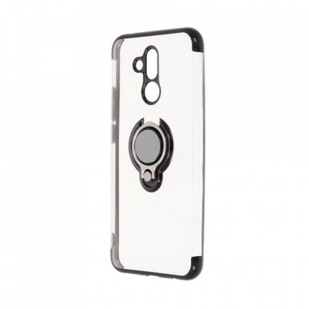 Husa Huawei MATE 20 LITE Silicon Transparenta cu Inel Rotativ si Margini Negre