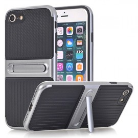 iPhone 6 si 6S - Husa Carbon Texture Silver Cu Suport Wide