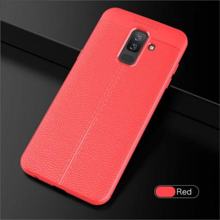 Husa Samsung A6 PLUS (2018) - Husa Rosie din TPU cu Design de Tip Piele
