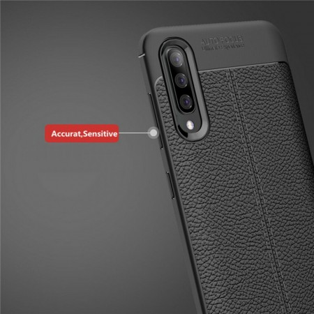 Husa Samsung Galaxy A50   A50s   A30s Neagra din TPU cu Design de Tip Piele