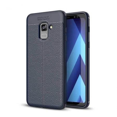 Husa Samsung Galaxy A8 PLUS Bleumarin din TPU cu Design de Tip Piele