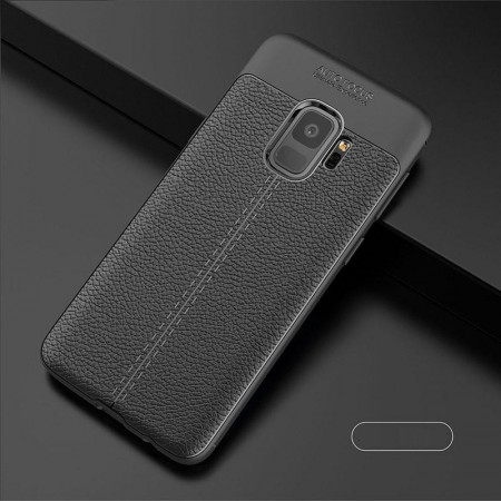 Husa Samsung Galaxy S9 Neagra din TPU cu Design de Tip Piele