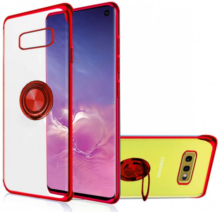 husa silicon transparent margini rosii samsung s10e cu inel