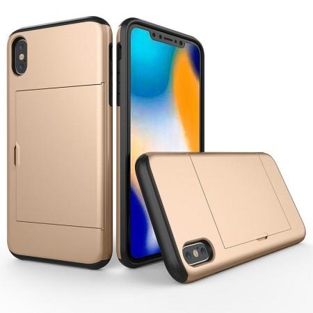 Husa iPhone X sau XS Gold Antisoc Cu Buzunar Pentru Card