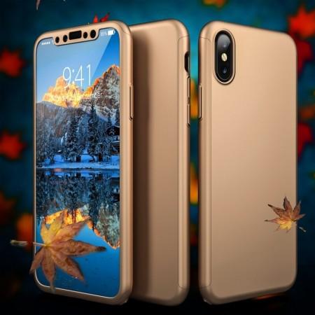 Husa iPhone XS Gold 360° Matte Premium Ultra Slim Cu Folie De Sticla