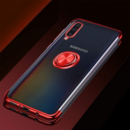 Husa Samsung Galaxy A50 | A50s | A30s din Silicon Transparenta cu Inel Rotativ si Margini Rosii