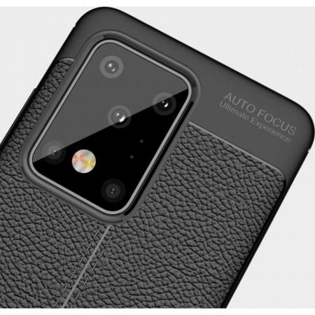 Husa Samsung Galaxy S20 PLUS Neagra din TPU cu Design de Tip Piele