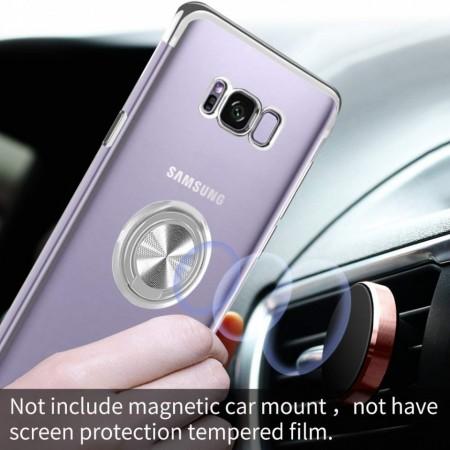 Husa Samsung Galaxy S8- din Silicon Transparenta cu Inel Rotativ si Margini Argintii