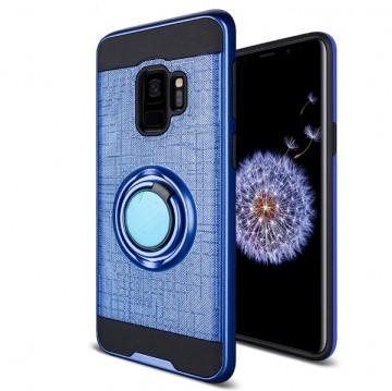 Husa Samsung Galaxy S9 Albastra Dublu Strat Cu Inel Rotativ