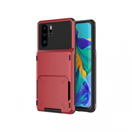 Husa Huawei P Smart 2019 Book Type Card Holder, rosu, HWPS2019-004