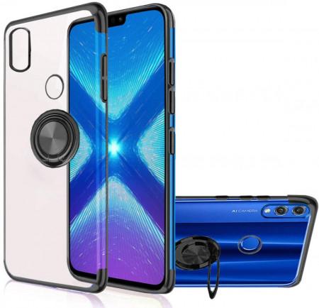 Husa Huawei Y6 (2019) - Silicon Transparenta cu Inel Rotativ si Margini Negre