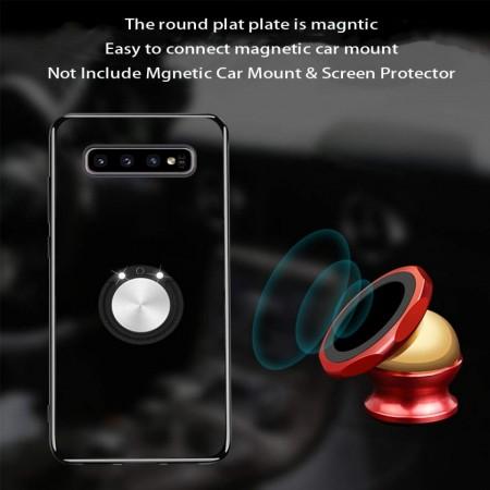 Husa Samsung Galaxy Note 8 din Silicon Transparenta cu Inel Rotativ si Margini Rosii