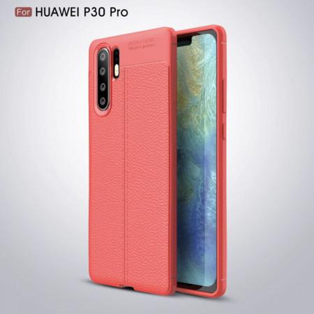 Husa Huawei P30 PRO - Husa Rosie din TPU cu Design de Tip Piele