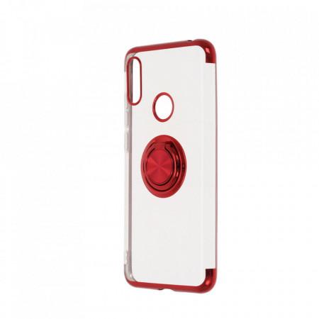 Husa Huawei Y6 (2019) - Silicon Transparenta cu Inel Rotativ si Margini Rosii
