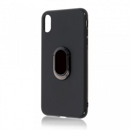 Husa iPhone X sau XS Neagra Din Silicon Premium Cu Inel Rotativ