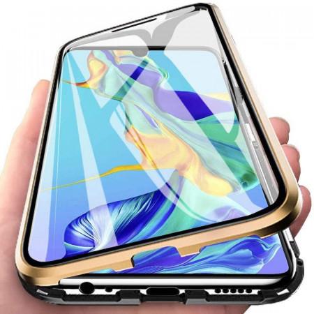 Husa Samsung Galaxy S10e cu Protectie Full 360° cu Prindere Magnetica Transparenta cu Margini Gold
