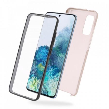 Husa Samsung Galaxy S20 PLUS - 360 Fully cu Spate din Policarbonat si Folie din Silicon - Crem