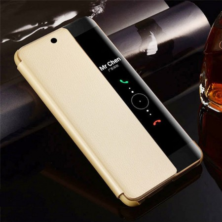 Husa Huawei Mate 20 Book Cover Clear View Gold